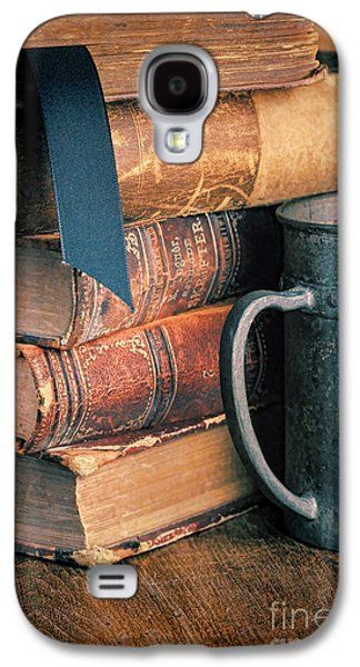 Tankard Galaxy S4 Cases - Stack of Vintage Books Galaxy S4 Case by Jill Battaglia