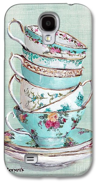 Stacked Aqua Themed Tea Cups Galaxy S4 Case by Gail McCormack