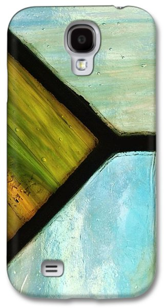 Blue Abstracts Glass Galaxy S4 Cases - Stained Glass 6 Galaxy S4 Case by Tom Druin