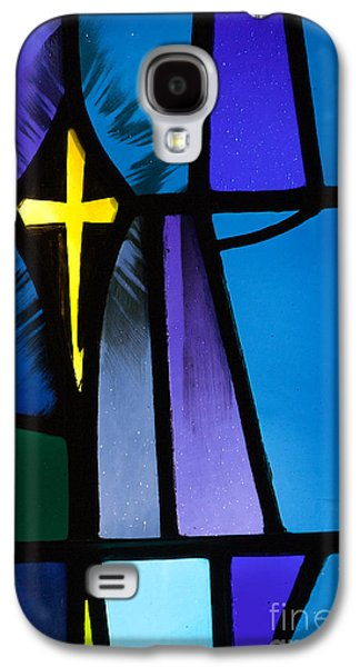Living With Joy Galaxy S4 Cases - Stained Glass Cross Galaxy S4 Case by Karen Lee Ensley