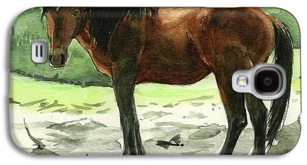 Saving Paintings Galaxy S4 Cases - Stallion of The Clear-cut Galaxy S4 Case by Linda L Martin