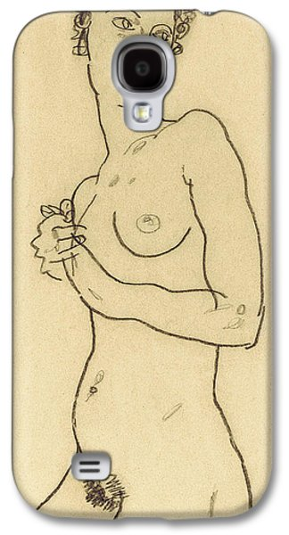 Nudes Drawings Galaxy S4 Cases - Standing nude Galaxy S4 Case by Egon Schiele