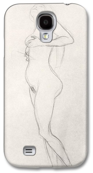 Nudes Drawings Galaxy S4 Cases - Standing Nude Girl Looking Up Galaxy S4 Case by Gustav Klimt