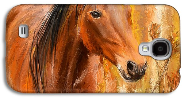 Wild Horse Paintings Galaxy S4 Cases - Standing Regally- Bay Horse Paintings Galaxy S4 Case by Lourry Legarde