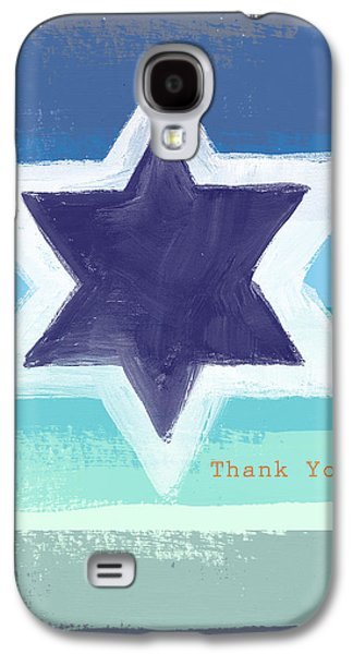 Painted Mixed Media Galaxy S4 Cases - Star of David in Blue - Thank You Card Galaxy S4 Case by Linda Woods