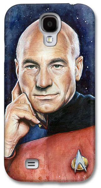 Science Fiction Mixed Media Galaxy S4 Cases - Star Trek Captain Picard Portrait Galaxy S4 Case by Olga Shvartsur
