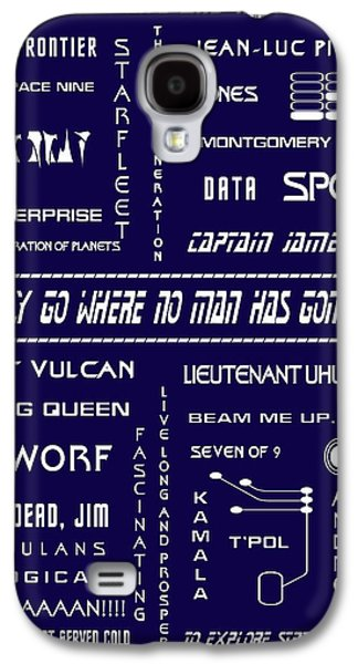 Enterprise Galaxy S4 Cases - Star Trek Remembered in Navy Blue Galaxy S4 Case by Nomad Art And  Design