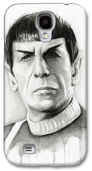 Illustration Paintings Galaxy S4 Cases - Star Trek Spock Portrait Galaxy S4 Case by Olga Shvartsur