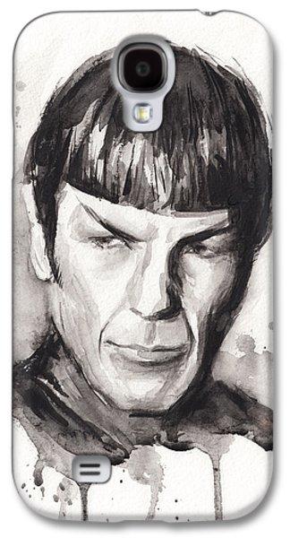 Science Fiction Paintings Galaxy S4 Cases - Star Trek Spock Portrait Sci-Fi Art Galaxy S4 Case by Olga Shvartsur