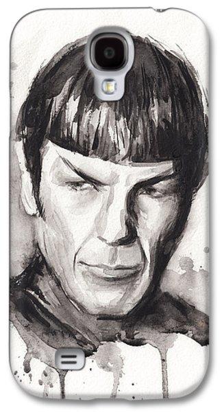 Star Trek Galaxy S4 Cases - Star Trek Spock Portrait Sci-Fi Art Galaxy S4 Case by Olga Shvartsur