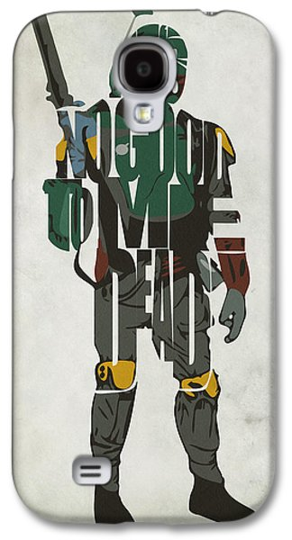 Minimalist Poster Galaxy S4 Cases - Star Wars Inspired Boba Fett Typography Artwork Galaxy S4 Case by Ayse Deniz
