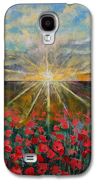 Field. Cloud Paintings Galaxy S4 Cases - Starlight Poppies Galaxy S4 Case by Michael Creese