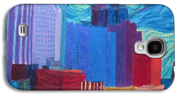 Skylines Pastels Galaxy S4 Cases - Starry Night City Galaxy S4 Case by Cherie Sexsmith