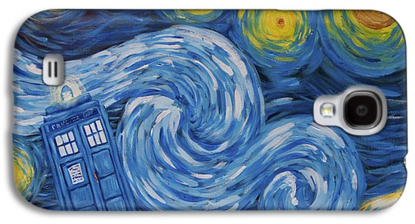 Police Art Paintings Galaxy S4 Cases - Starry Tardis Night Galaxy S4 Case by Deirdre DeLay