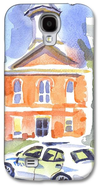 Police Paintings Galaxy S4 Cases - Stately Courthouse with Police Car Galaxy S4 Case by Kip DeVore