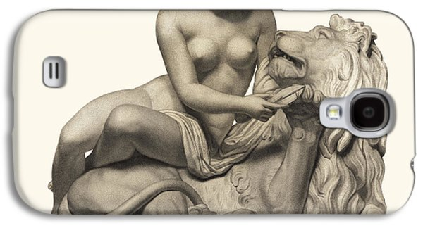 European Sculptures Galaxy S4 Cases - Statue Woman and Lion Galaxy S4 Case by Private Collection