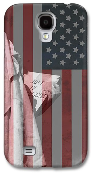 4th July Galaxy S4 Cases - Statue Of Liberty And American Flag Galaxy S4 Case by Dan Sproul