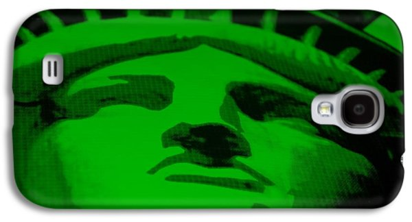 Statue Portrait Mixed Media Galaxy S4 Cases - STATUE OF LIBERTY in GREEN Galaxy S4 Case by Rob Hans