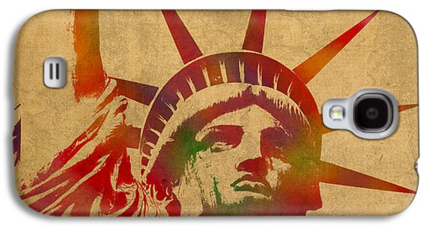 Statue Portrait Galaxy S4 Cases - Statue of Liberty Watercolor Portrait No 2 Galaxy S4 Case by Design Turnpike