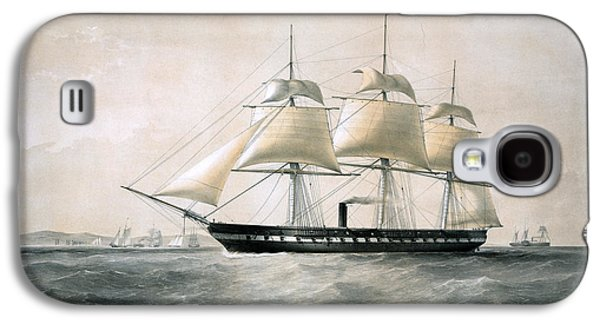 Frigates Paintings Galaxy S4 Cases - steam frigate Merrimac - 1856 Galaxy S4 Case by Pablo Romero