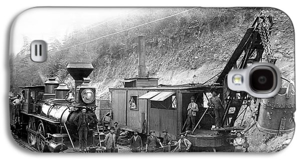 Machinery Galaxy S4 Cases - STEAM LOCOMOTIVE and STEAM SHOVEL 1882 Galaxy S4 Case by Daniel Hagerman