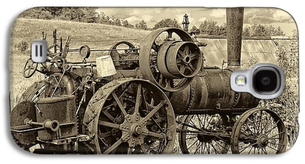 Tractor Prints Galaxy S4 Cases - Steam Powered Tractor sepia Galaxy S4 Case by Steve Harrington