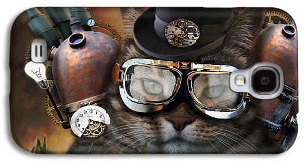 Steampunk Cat Galaxy S4 Case by Juli Scalzi