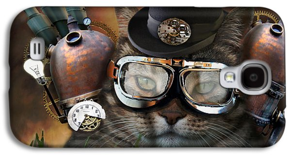 Gear Photographs Galaxy S4 Cases - Steampunk Cat Galaxy S4 Case by Juli Scalzi