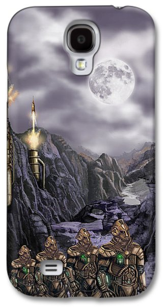 Gear Paintings Galaxy S4 Cases - Steampunk Moon Invasion Galaxy S4 Case by James Christopher Hill