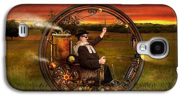 Suburban Digital Art Galaxy S4 Cases - Steampunk - The gentlemans monowheel Galaxy S4 Case by Mike Savad