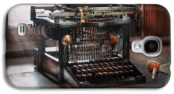 Victorian Photographs Galaxy S4 Cases - Steampunk - Typewriter - A really old typewriter  Galaxy S4 Case by Mike Savad