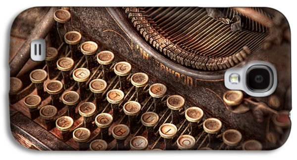 Typewriter Keys Photographs Galaxy S4 Cases - Steampunk - Typewriter - Too tuckered to type Galaxy S4 Case by Mike Savad