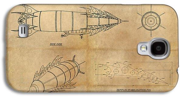 Steampunk Galaxy S4 Cases - Steampunk Zepplin Galaxy S4 Case by James Christopher Hill
