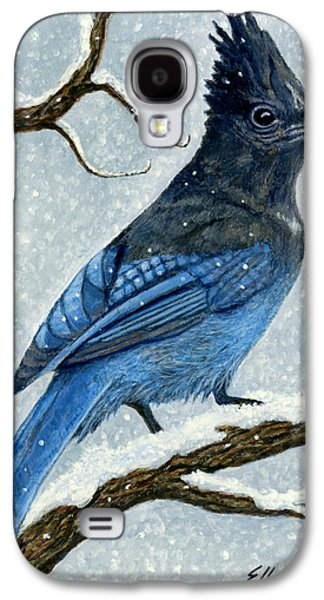 Stellar Paintings Galaxy S4 Cases - Stellar Jay in Winter Galaxy S4 Case by Ellen Strope