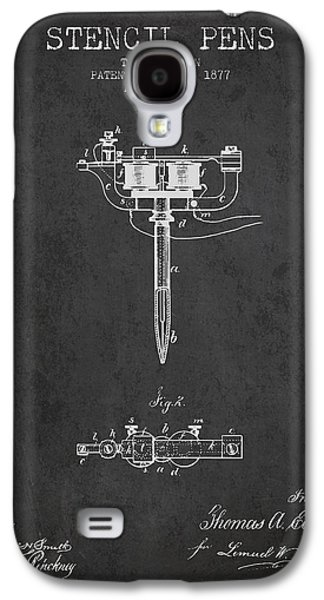 Tattoo Digital Galaxy S4 Cases - Stencil Pen Patent from 1877 - Charcoal Galaxy S4 Case by Aged Pixel