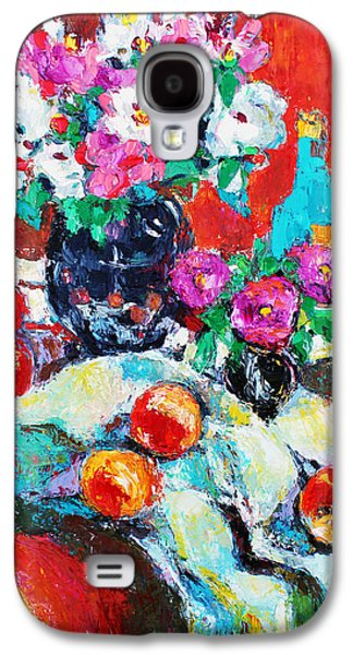 Becky Kim ist Paintings Galaxy S4 Cases - Still Life in Studio with Blue Bottle Galaxy S4 Case by Becky Kim