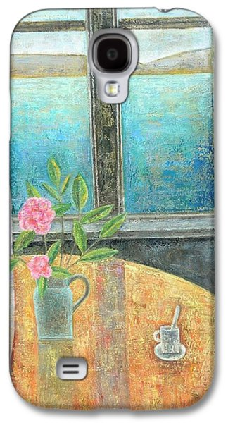 Interior Scene Galaxy S4 Cases - Still Life In Window With Camellia, 2012, Oil On Canvas Galaxy S4 Case by Ruth Addinall