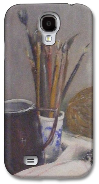 Still Life Jewelry Galaxy S4 Cases - Still life of paint brushes etc. Galaxy S4 Case by Barbara Jacquin