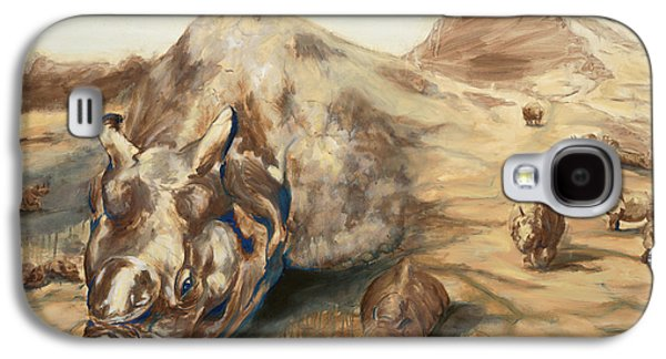 One Horned Rhino Paintings Galaxy S4 Cases - Still Life Galaxy S4 Case by Sarah Soward