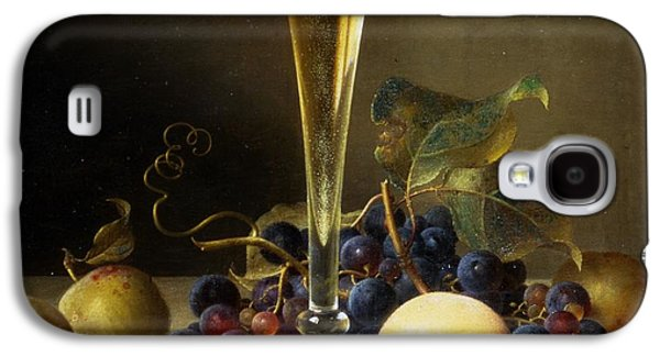 Ledge Galaxy S4 Cases - Still Life with a glass of champagne Galaxy S4 Case by Johann Wilhelm Preyer