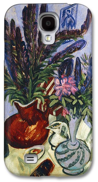 """indoor"" Still Life Galaxy S4 Cases - Still Life with a Vase of Flowers Galaxy S4 Case by Ernst Ludwig Kirchner"