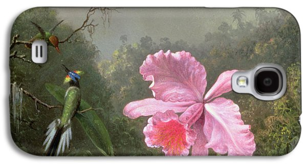 Talons Paintings Galaxy S4 Cases - Still Life with an Orchid and a Pair of Hummingbirds Galaxy S4 Case by Martin Johnson Heade