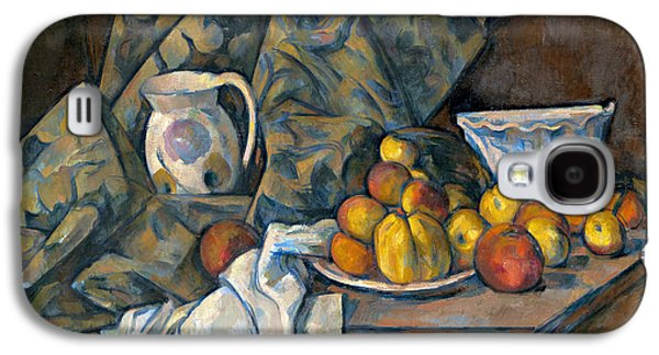 Pottery Paintings Galaxy S4 Cases - Still Life with Apples and Peaches Galaxy S4 Case by Paul Cezanne