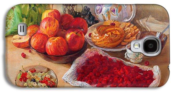 """indoor"" Still Life Paintings Galaxy S4 Cases - Still Life With Apples And Raspberries Galaxy S4 Case by Galina Gladkaya"