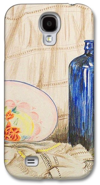 Basic Drawings Galaxy S4 Cases - Still-life with blue bottle Galaxy S4 Case by Alan Hogan