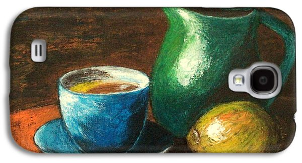 Old Pitcher Paintings Galaxy S4 Cases - Still Life with Blue Tea Cup Galaxy S4 Case by Ela Jamosmos