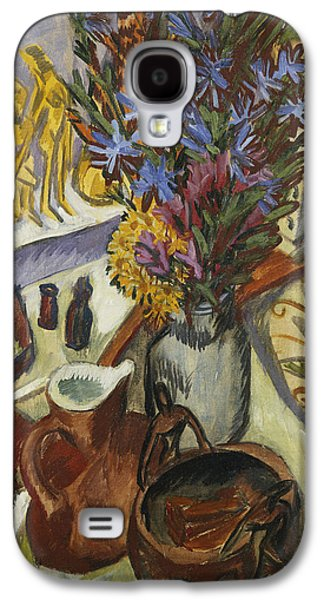 Indoor Still Life Galaxy S4 Cases - Still Life with Jug and African Bowl Galaxy S4 Case by Ernst Ludwig Kirchner