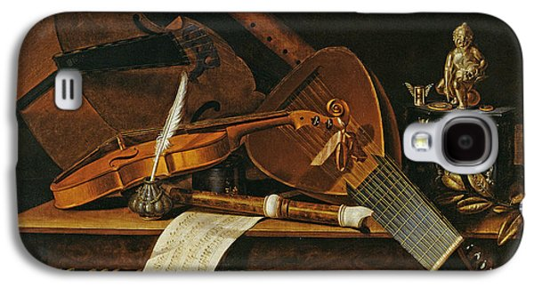 Lute Paintings Galaxy S4 Cases - Still life with musical instruments Galaxy S4 Case by Pieter Gerritsz van Roestraten