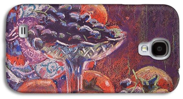 Interior Still Life Pastels Galaxy S4 Cases - Still life with persimmon and grapes Galaxy S4 Case by Olesya Tarasova