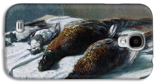 French Signs Galaxy S4 Cases - Still life with pheasants and plovers Galaxy S4 Case by Claude Monet